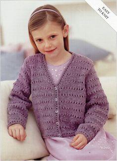 Girls Knitting pattern Girls Cardigan Childs Cardigan Easy Knit V neck Cardigan 22-32inch DK Childrens Knitting Pattern PDF Instant Download
