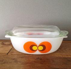 "Vintage 70's Schott Mainz ""Carina"" / Peacocks Eye Casserole Oven Dish Pop Art Space Age JENAer Glas"