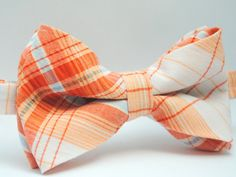 Orange Plaid Seersucker bow tie for infant, toddler, boy -- for weddings, family portraits, photographs, photography props, infant portraits, newborn portraits, ring bearers, church outfits #stellaEM