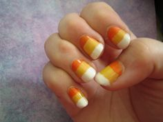 candy corn nails - So cute, I'll have to buy cheap nail polish (as I won't normally wear orange or yellow, this shade at least) to re-create this look :)
