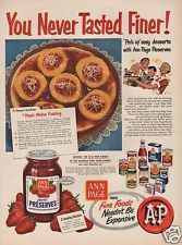 1951 VINTAGE A & P GROCERY STORE PURE PRESERVES AD