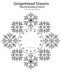 Gingerbread Dreams Set 3 - Snowflake Wreath: 3 of 3 Snowflake Embroidery, Christmas Embroidery, Ribbon Embroidery, Cross Stitch Embroidery, Cross Stitch Patterns, Embroidery Sampler, Embroidery Materials, Hand Embroidery Patterns, Geometric Embroidery