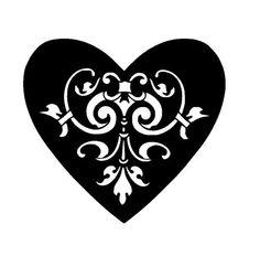 vintage heart stencil template 1