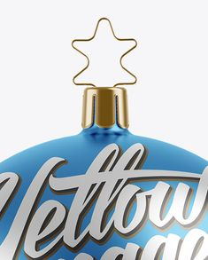 Matte Metallic Christmas Ball Mockup - Front View Clos-Up