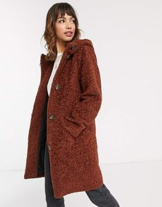 Esprit faux fur duffle coat in brown-Blue Duffle Coat, Saved Items, Asos, Faux Fur, Blazer, My Style, Brown, Jackets, Women