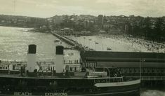 """Manly Wharf,Pool and the Manly ferry """"Dee Why"""" in 1934. •State Library of NSW•"""