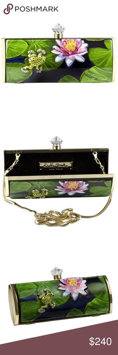"""Debbie Brooks Long Frog Lily Clutch New. Black satin, Gold hardware. Hand silk screened artwork, embellished with diamond dust and glitter, encapsulated with Jewelry grade acrylic and adorned with Swarovski crystals.   Comes with a 38"""" snake lace chain that folds conveniently into bag. Inside pocket for lipstick. Comes in a storage pouch. Debbie Brooks Bags Clutches & Wristlets"""