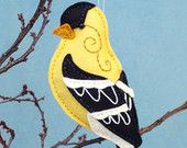 Goldfinch Sewing Pattern PDF - Backyard Bird Stuffed Ornament - Felt Plushie - Gordon the Goldfinch Plushie Patterns, Felt Patterns, Bird Patterns, Sewing Patterns, Softie Pattern, Animal Patterns, Bird Ornaments, Felt Christmas Ornaments, Christmas Christmas