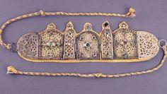 Inlaid Berber Jewelry Piece, Morocco .   A decorative Berber jewelry piece inlaid with jewels in a Moroccan museum.