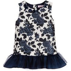 Miss Blumarine Baby Girls Blue Jacquard Dress  at Childrensalon.com