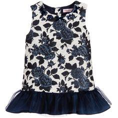 Miss Blumarine Baby Girls Blue Jacquard Dress  at Childrensalon.com