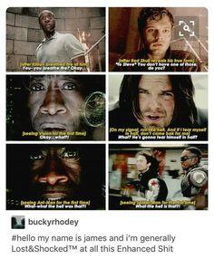 Colonel James Rhodes/Rhodey/War Machine and James Buchanan Barnes /Bucky Barnes/The Winter Soldier Funny Marvel Memes, Dc Memes, Marvel Jokes, Avengers Memes, Marvel Dc Comics, Marvel Heroes, Marvel Avengers, Baby Avengers, Funny Memes