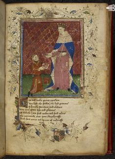 Royal 17 D VI, f.40. Thomas Hoccleve, presenting the book to prince Henry, with a partial border containing the arms of William FitzAlan, earl of Arundel, and a foliate initial 'H'(ye).   Origin: England