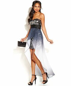 Juniors' Sequin High-Low Dress - Juniors Prom Dresses - Macy ...