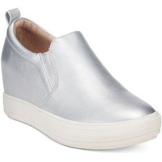 Wanted Pocono Slip-On Wedge Sneakers ($59) ❤ liked on Polyvore featuring shoes, sneakers, silver, slip-on shoes, wedge sneakers, silver slip on sneakers, silver shoes and silver sneakers