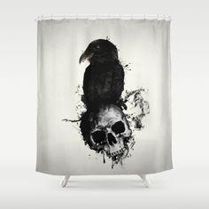 Shower Curtains Raven Skull 26W X 18H 075D