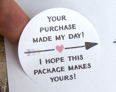 Your purchase made my day - Small Business Packaging - Thank you labels - Happy . Your purchase made my day - Small Business Packaging - Thank you labels - Happy . Thank You Labels, Thank You Stickers, 3d Printing Business, Craft Business, Merci Shop, Business Thank You Cards, Etsy Business Cards, Packaging Stickers, Packaging Ideas