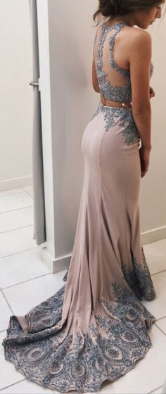 Lace Prom Dress,Appliqued Prom Dresses,2 Pieces Prom Dress,Mermaid Prom Dresses,Sweep Train Two Pieces Evening Dress,Senior Prom 2017 Dresses,Prom Dresses