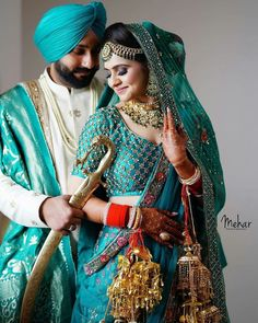 9 Magnificent Bridal Lehnga Colours for Swaggy Sikh Brides Indian Bridal Photos, Indian Wedding Pictures, Indian Wedding Poses, Punjabi Wedding Couple, Wedding Dresses Men Indian, Indian Wedding Couple Photography, Indian Bridal Fashion, Bridal Pictures, Indian Weddings