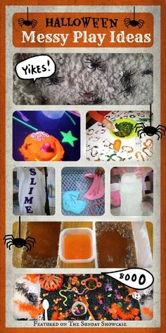 Lots of FUN messy play activities for kids to get stuck in to this HALLOWEEN!