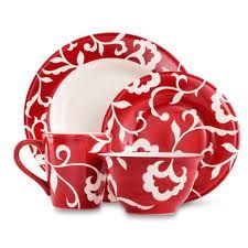 red and white damask set.