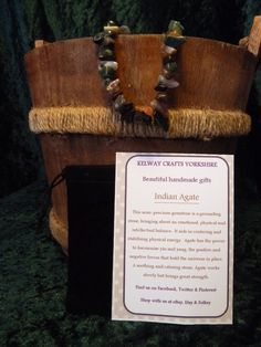 Indian Agate bracelet precious stone gemstone meanings Stretch bracelet  £9.99