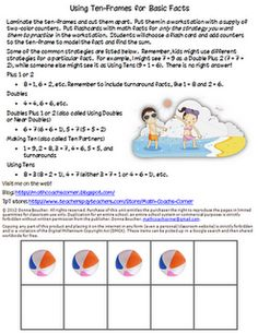 Math Coach's Corner: It All Adds Up. Using strategies to learn basic facts.  Freebie!