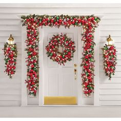 The Cordless Prelit Classic Holly Jolly Holiday Trim (Garland) - Hammacher Schlemmer Porch Christmas Lights, Porch Ornaments, Christmas Front Doors, Decorating With Christmas Lights, Christmas Door, Outdoor Christmas Decorations, Holiday Lights, Porch Decorating, Light Decorations