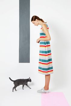 Arela | striped sleeveless dress in cotton cashmere knit