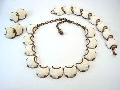Vintage Thermoset Plastic Shell Design Necklace, bracelet, earrings set    $75.00