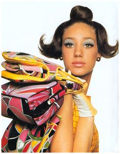Marisa Berenson with 1960s Pucci bags