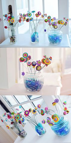 Love these adorable, whimsical, button flower bouquets in glass jar/vase ETSY by MinistersIslandBoats, $42.00