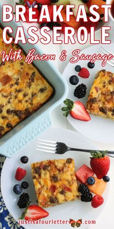Breakfast Casserole with Bacon and Sausage | Just is a Four Letter Word This delicious overnight breakfast casserole with bacon and sausage is so easy to make ahead of time for a hearty and delicious breakfast! Simple ingredients like bread, eggs, and a few condiments make this breakfast recipe as simple as it is tasty!<br> Bacon Sausage, How To Cook Sausage, Sausage Recipes, Overnight Breakfast Casserole, Sausage Breakfast, Breakfast Recipes, How To Make Breakfast, Breakfast For Dinner, Easy Meal Plans