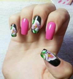 If and when I have the time, my next polish change will be this :) Uñas One Stroke, One Stroke Nails, Get Nails, Love Nails, Hair And Nails, Fingernail Polish Designs, Nail Art Designs, Gorgeous Nails, Pretty Nails