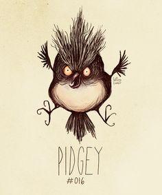 Pidgey #016  (Tim Burton Inspired Pokemon Re-Design)