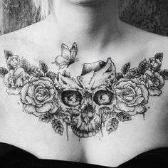 Chest Tattoo Skull, Rose Chest Tattoo, Cool Chest Tattoos, Chest Tattoos For Women, Chest Piece Tattoos, Pieces Tattoo, Back Tattoo Women, Skull Tattoos, Rose Tattoos