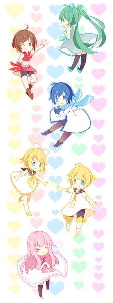 Vocaloid Hatsune Miku, MEIKO, KAITO, Kagamine Rin, Kagamine Len, Megurine Luka