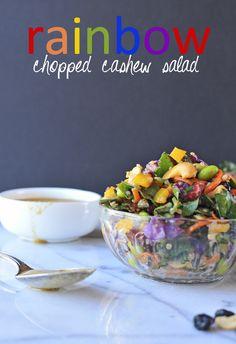 Rainbow Chopped Cashew Salad -- seriously soooooooo good, so healthy, and so colorful (ie. packed with a bajillion nutrients!) // via Nosh and Nourish