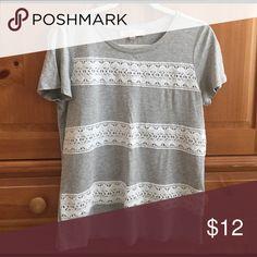 LOFT lace trim T-shirt Grey LOFT T-shirt with white lace stripes. Worn once. LOFT Tops Tees - Short Sleeve