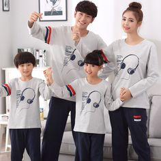 Kiqoo 2 pcs Long Sleeve Cotton Pajamas Set Parent-child Outfit Pajamas Family Matching Clothings Set,Plus Size Couple With Baby, Mom And Baby, Family Picture Outfits, Matching Family Outfits, Ulzzang Kids, Ulzzang Korea, Baby Boy Outfits, Kids Outfits, Cute Baby Dresses