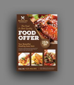 This corporate flyer is designed in Adobe Photoshop. The template includes help file and Photoshop PSD's. All PSD files are very well organized, flyer templates. Food Graphic Design, Food Menu Design, Food Poster Design, Flyer Design, Luxury Restaurant, Restaurant Restaurant, Brochure Food, Restaurant Poster, Menu Flyer