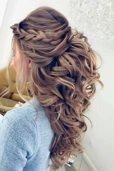 Pretty Half up half down hairstyles - Pretty partial updo wedding hairstyle is a great options for the modern bride from flowy boho and clean contemporary cute bridal hair styles Wedding Hair And Makeup, Hair Makeup, Makeup Hairstyle, Big Wedding Hair, Wedding Hair Styles, Wedding Curls, Wedding Hair With Braid, Hair Styles For Prom, Wedding Half Updo