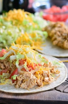 Crock Pot Creamy Pulled Chicken Tacos. These pulled chicken tacos are made with creamy, delicious chicken that is very easy to put together in the crock pot.