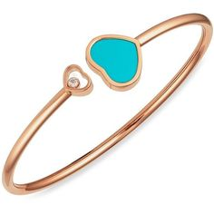 Chopard Happy Hearts Diamond & Turquoise Bangle ($2,760) ❤ liked on Polyvore featuring jewelry, bracelets, turquoise jewelry, hinged bangles, diamond bangles, bangle bracelet and diamond fine jewelry