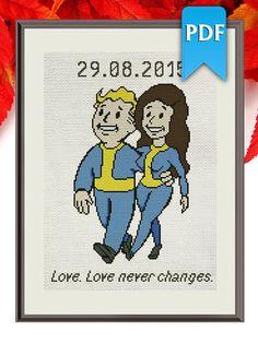 Vault Boy and Girl geeky wedding cross stitch by HappyStitchNet