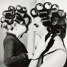 Mom & Daughter In Rollers