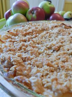 Apple Crisp...I made this today...simple and delicious.  Like that it is only pie size for just the two of us.