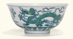 An underglaze-blue and green-enamelled 'dragon' bowl<br>Qing Dynasty, 18th Century   Lot   Sotheby's