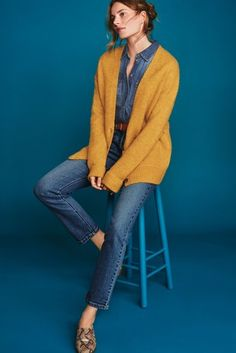 Women's, Knitwear, Cardigans - Next Nederland. Cardigan Outfits, Jean Outfits, Shirt Outfit, Cute Outfits, Fashion Outfits, Blue Shirt With Jeans, Blue Denim, Boyfriend Cardigan, Yellow Cardigan