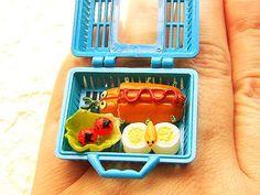 Kawaii Food Ring Bento Box by SouZouCreations on Etsy (bento box,lunch box,lunch,bento,bugs)